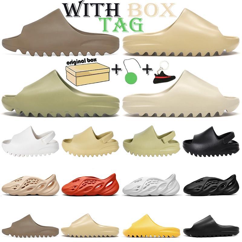 slides kanye west slides foam runner stock x chaussures uomo donna bambini pantofole Bone brown desert sand resina sandali pantofola sneakers 26-44