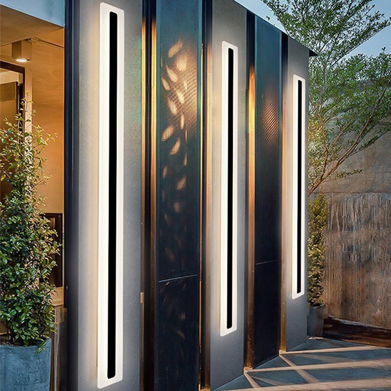 الحديثة الصمام للماء IP65 في الهواء الطلق طويل الجدار مصباح الألومنيوم الجدار ضوء حديقة الشرفة الشمعدان ضوء 110 فولت 220 فولت الأسود الشمعدان الإنارة
