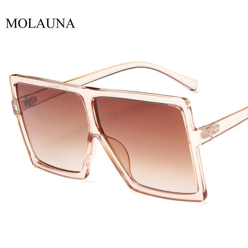Солнцезащитные очки 2021 Квадратные Женщины Мода Негабаритный Металлический Рамка Винтажные Очки Мужские оттенки Ретро Градиент Цвета Oculos UV400