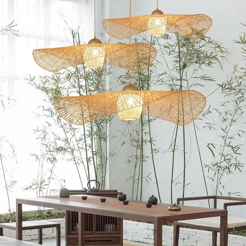 Chinês Bambu Tecelagem de Vime Rattan Shade Cap Pingente Luz E27 Lâmpadas Lanternas Handmade Sala de estar