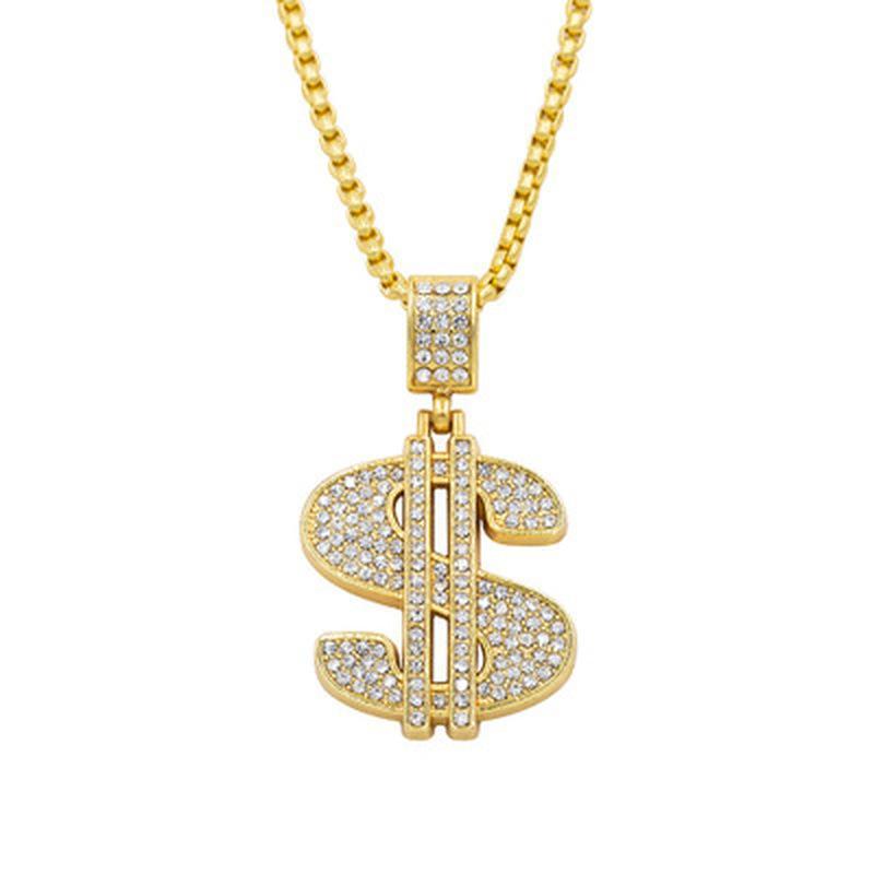 Yüksek Kaliteli Kadın Erkek Hip Hop 24 K Altın Kaplama Rapçi Kristal ABD Doları Kolye Kaya USD Saksı Kolye Zincir Kolye Takı