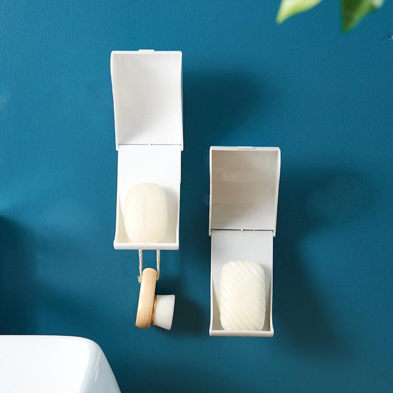 Sabonete prato livre perfuração Creative Wall-Mount Soap Caixa de sabujas do banheiro do banheiro do banheiro com tampa multifunções