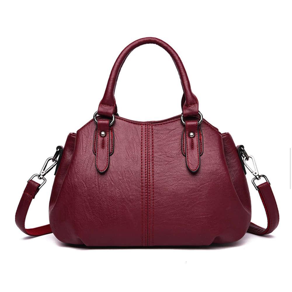 Bolso de mujer 2021 Nuevo Sheepskin Simple Fashion Handbag Casual versátil Mochila Grande Capacidad