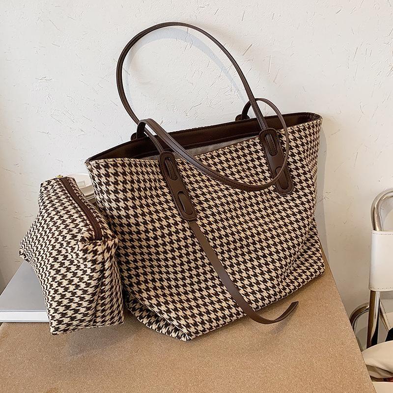 Большая емкость Гусенькая сумка женская сумка на плечо старинные клетки большие женские сумки роскошные составные женские сумки покупатели сумки