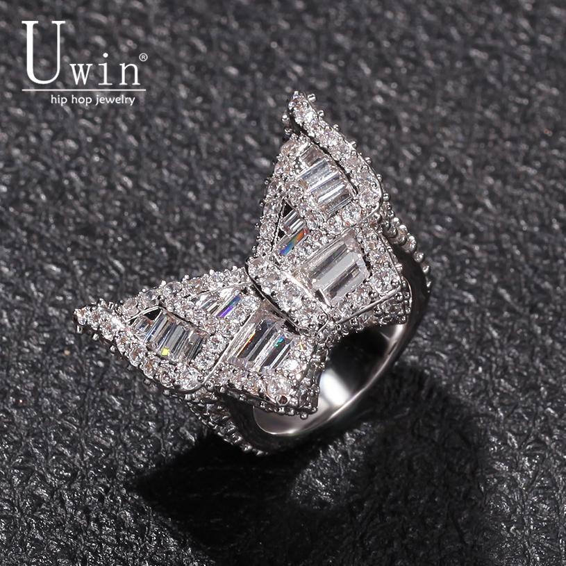 Uwin Butterfly CZ Ringe Micro aspaved Full Bling Euro Out Cubic Zirkon Luxus Mode Hiphop Schmuck Geschenk 210310