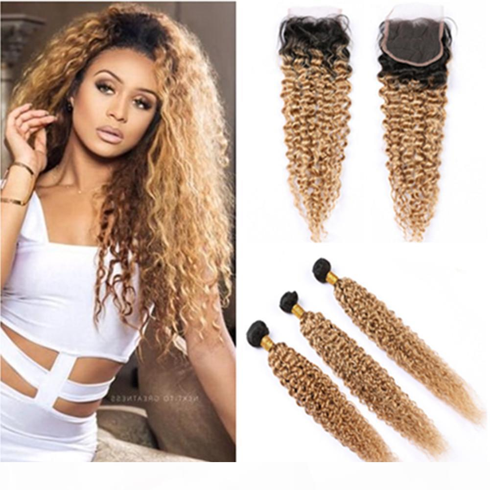 #1B 27 Ombre Human Hair Bundles with Closure Kinky Curly Ombre Honey Blonde Lace Closure with Weaves Dark Root Ombre Hair Extensions
