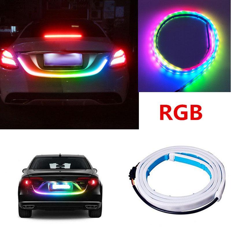 120 سنتيمتر 150 سنتيمتر سيارة الخلفية جذع أضواء متعدد الألوان RGB الذيل مربع ضوء ديناميكي غاسل الفرامل بدوره إشارة تحذير الصمام قطاع السيارات التصميم