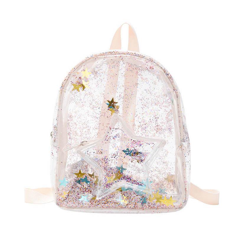واضح الفتيات حقائب pvc الترتر الاطفال الحقائب المدرسية الأزياء أكياس الأطفال حقيبة الفتيات أكتاف أكياس كتاب حقيبة B3899