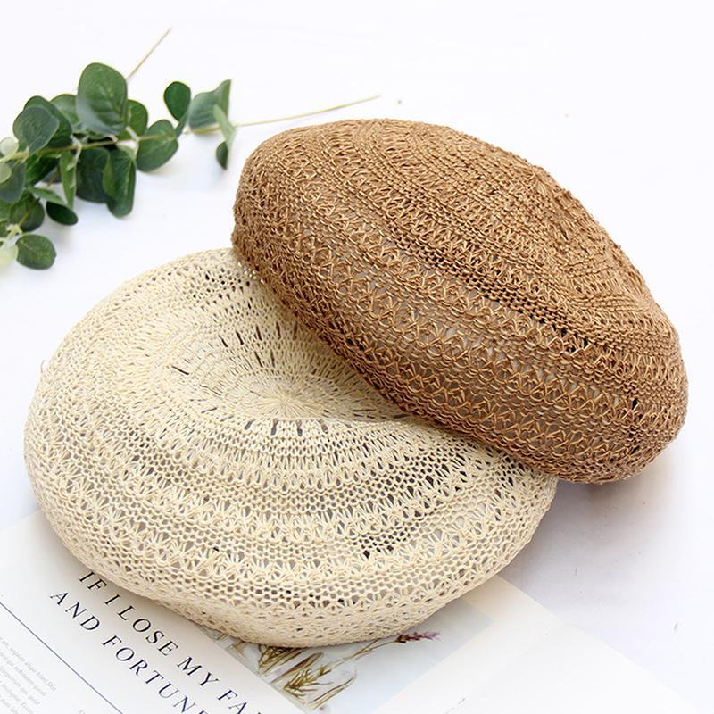 النسخة الكورية الربيع الصيف تنفس قبعة البيريه الإناث ins الرياح قبعة البريطانية البريطانية قبعة جوفاء الرسام