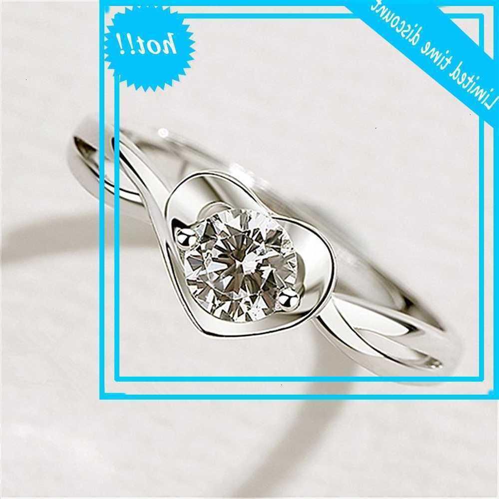 Moda coreana, corazón, diamante kwai en vivo, anillo de apertura recomendado, anillo de bodas creativo.