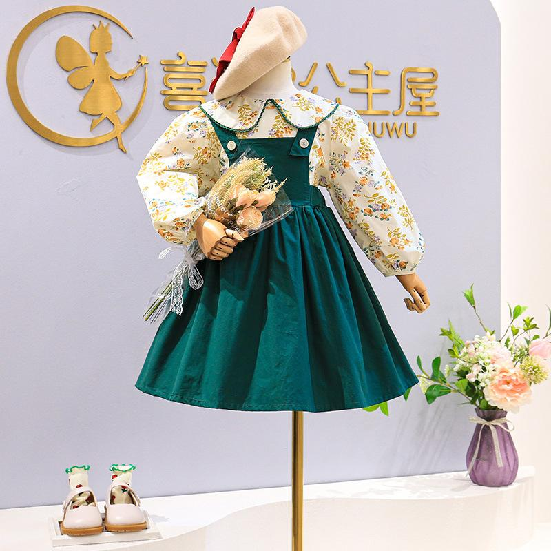 kids Clothing Sets girls outfits children Flowers Floral Long Sleeve Tops+strap dress 2pcs/set Spring Autumn Boutique fashion baby clothes Z4363