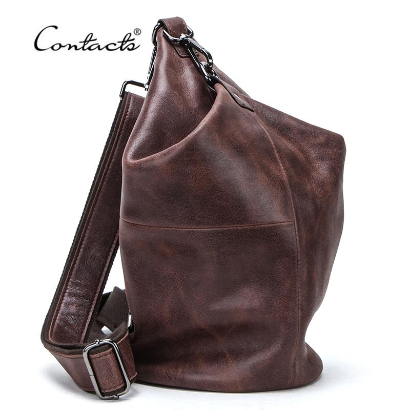 CONTACT'S 100% Genuine Leather Crossbody Bag for Men Large Capacity Shoulder Messenger Bags Male Casual Chest Bag Pack Bolsos C0228