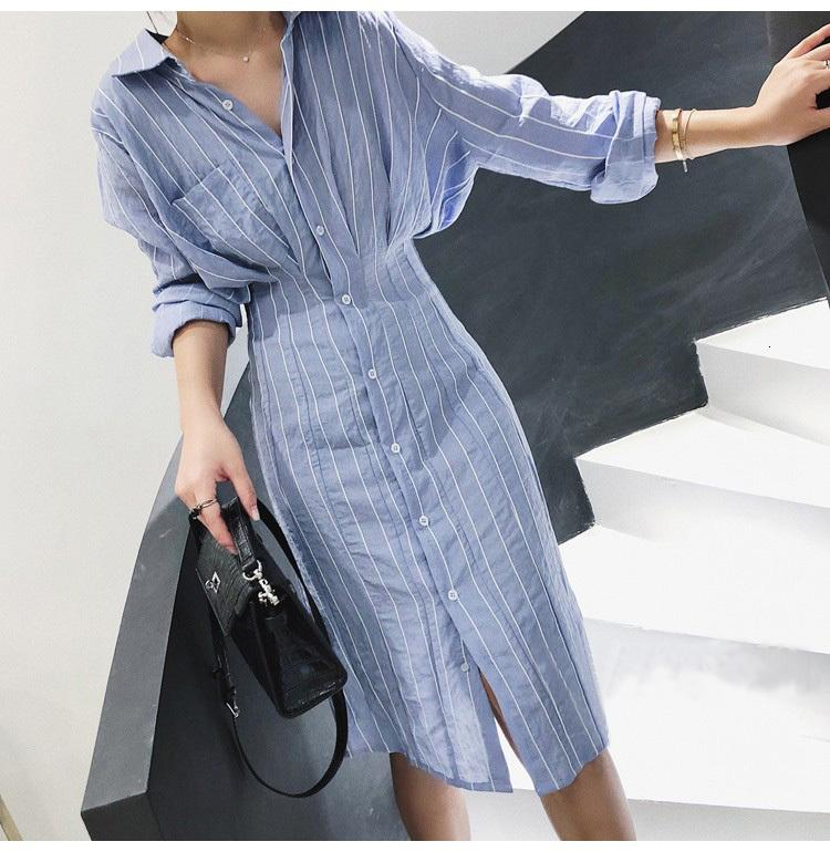 2021 Mujeres elegante raya nueva primavera otoño delgado batwing oficina es señoras manga blusa azul largo trato gjxa