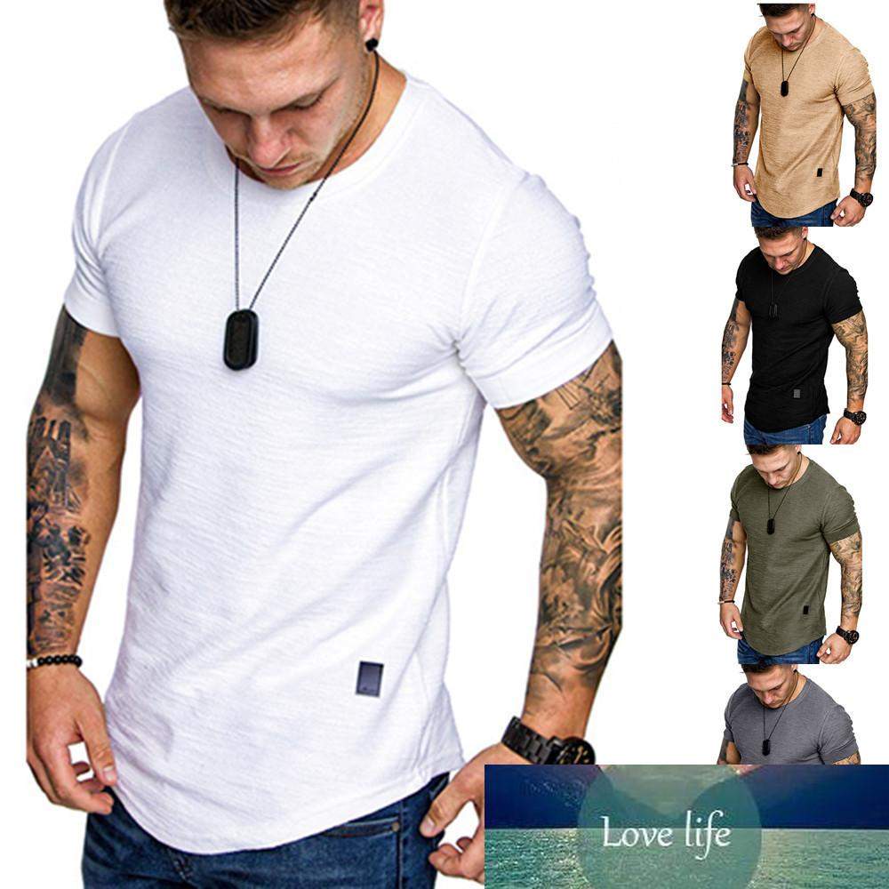 New Men's T-shirt Slim Fit O-neck Short Sleeve Muscle Fitness Casual Hip Hop Cotton Top Summer Fashion Basic T-shirt Large Size