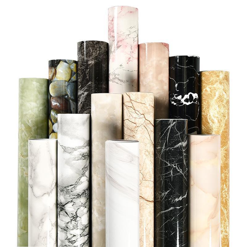 Mermer Vinil Filmi Kendinden Yapışkanlı Su Geçirmez Duvar Kağıdı Banyo Mutfak Dolap Tezgahları İletişim Kağıt PVC Duvar Çıkartmaları 513 R2