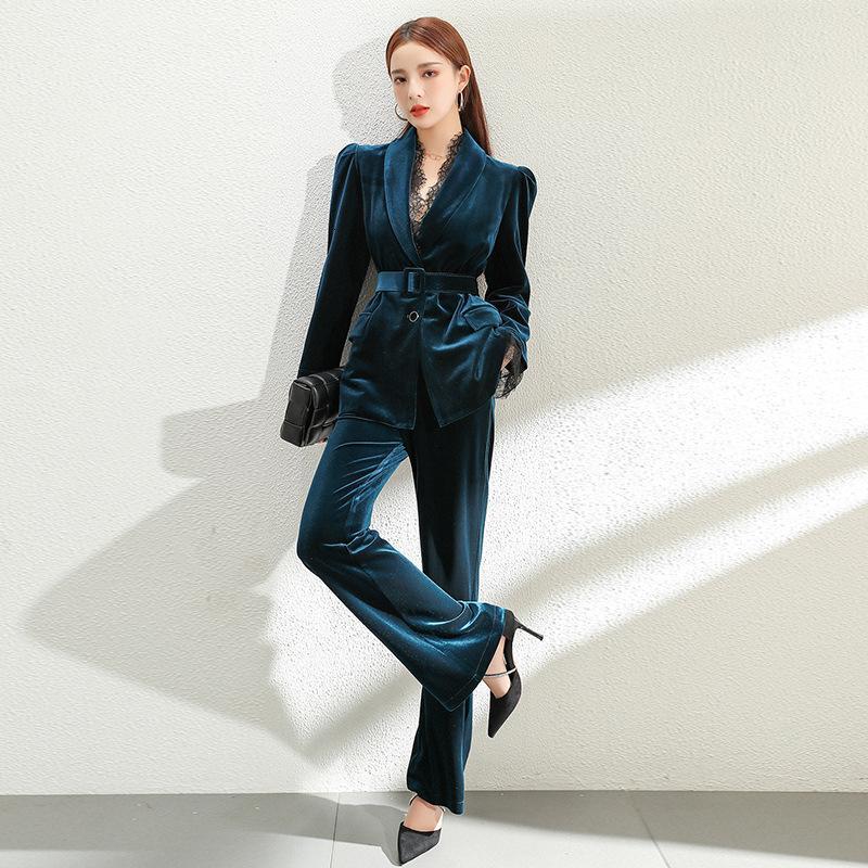 Kadınlar 2 Parça Giyim Avrupa Kış Mizaç Dantel Dikiş Kadife Altın Lady Profesyonel Suit W89h