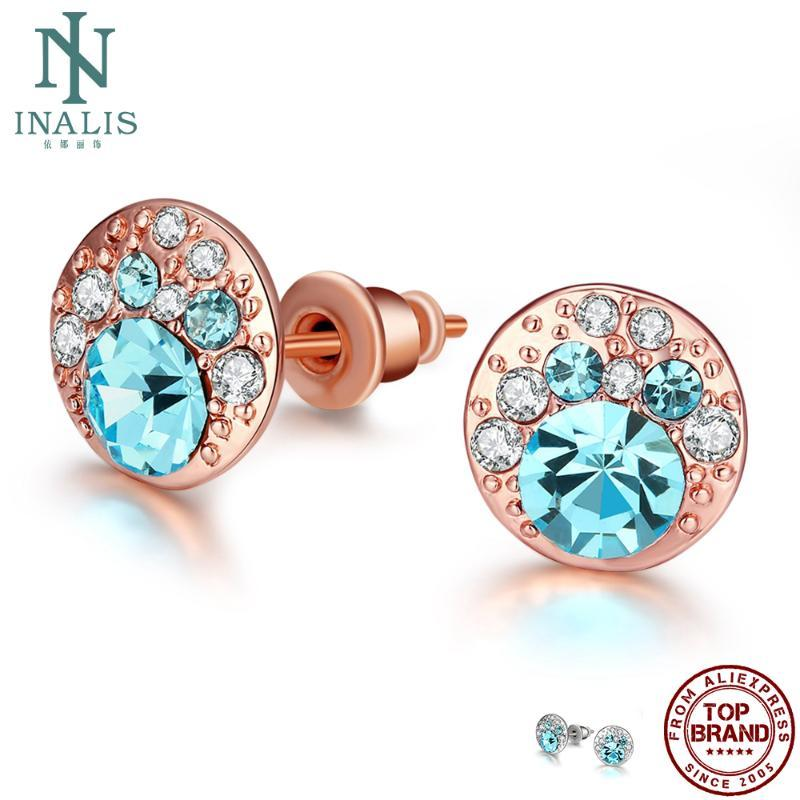INALIS Stud Earrings For Women Popular Round Classic Colored Zircon Anniversary Cute Earring Fashion Jewelry Gift New Arrival