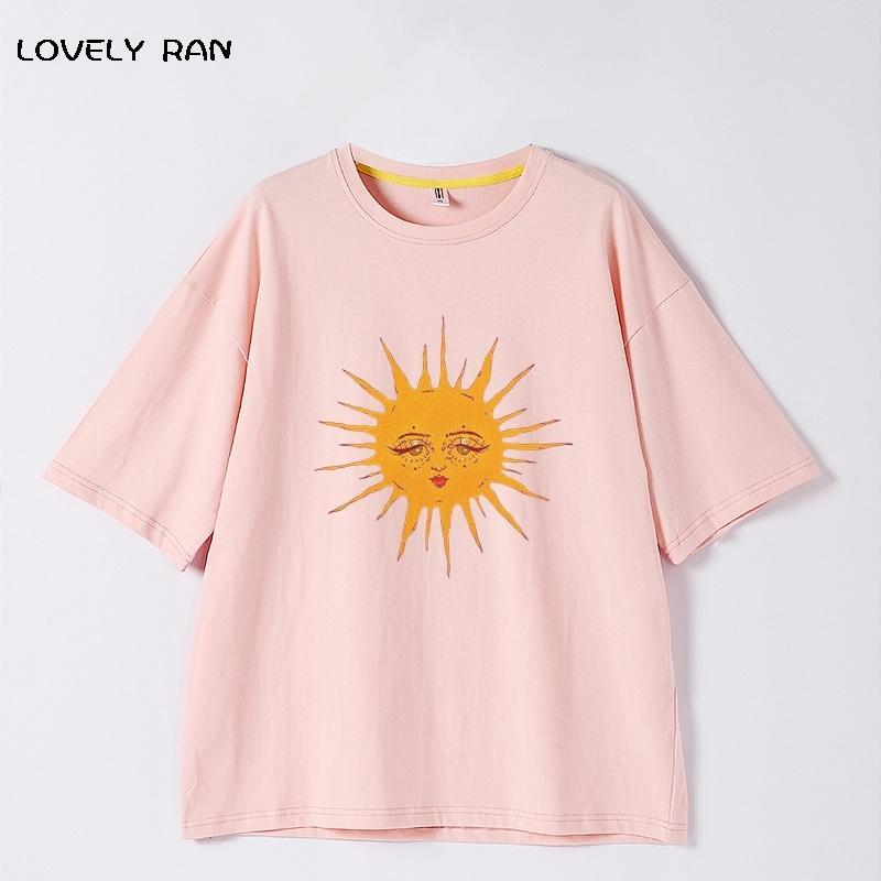 100% algodão mulheres t-shirts Imprimir desenhos animados casal de sol tshirt alta qualidade para meninas manga curta simples top 2021 verão