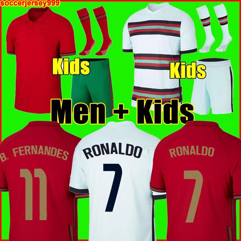 Portekiz 2020 RONALDO futbol forması Bruno FERNANDES 2021 Euro kupası André Silva Joao Felix PEPE Futbol futbol formaları erkek + çoraplı çocuk takımları forma
