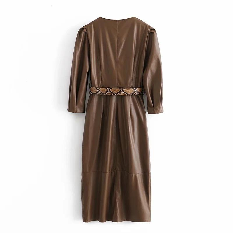 Vintage Şık Kadınlar PU Faux Deri Kuşaklı Mini Elbise Moda V Boyun Uzun Kollu Düğmeler Kadın Elbiseler Ves D2FL