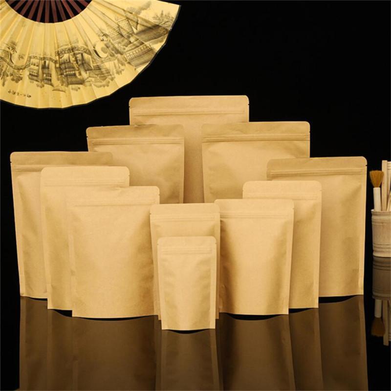 100 pçs / lote Folha de alumínio Brown Kraft Paper Bags Stand Up Bolsa Pacote Reutilizável Saco de Armazenamento para Alimentos Chá Snack