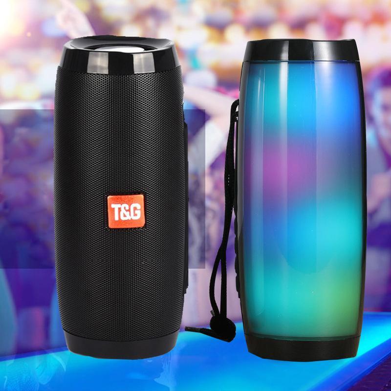 TG157 Bluetooth-Lautsprecher mit bunten LED-Licht tragbarer Lautsprecher Leistungsstarke hohe Boombox im Freien Bass HIFI TF FM Radio 10W Lautsprecher