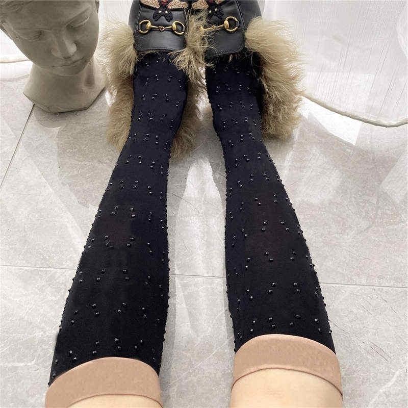 여성을위한 럭셔리 다이아몬드 양말 패션 자카드 문자 검은 양말 섹시한 통기성 숙녀 실크 스타킹 2 색