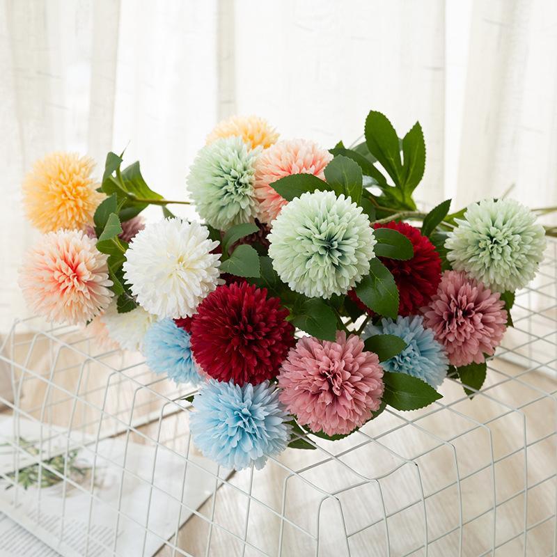 Flores artificiales Tenis de tenis Chrysanthemum Decoraciones para el hogar Flower Dandelion Boda Decoración Arreglo Flor Artificial Daisy XD