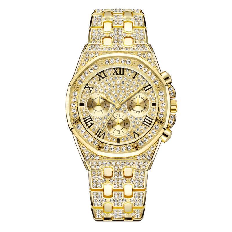 Наручные часы Золотая Нержавеющая Сталь Женщины Браслет Браслет Часы Роскошные Моды Алмазные Платье Часы Высококачественные Женские Кварцевые наручные часы