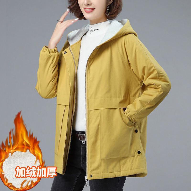 Women's Winter 2021 Nouveau plus Velvet HoDded Parkas HoDded avec coton à capuche à mi-longueur matelassée matelassée d'automne femme matelas Y641 R1S1