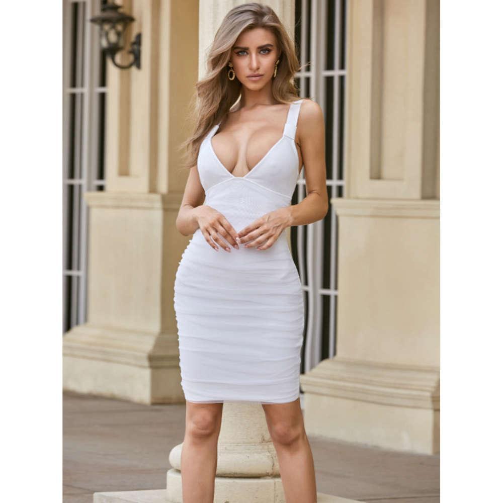 Vestido bajo de corte Noche Club de noche Moda Sexy Temperamento Temperamento Malla Malla Falda Falda Slim Vestido