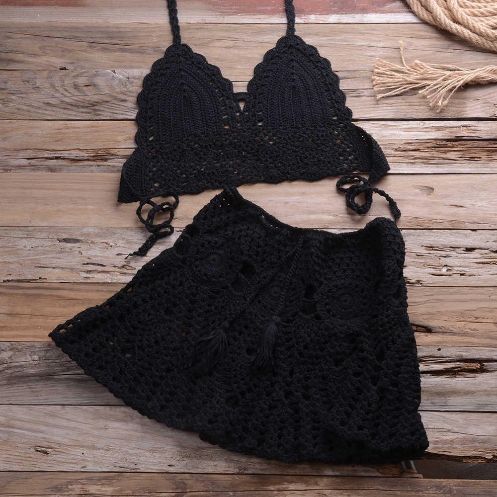 2021 Crochet 2pcs/set Swimsuit Beach Up Sexy Women Bra Top+mini a Line Skirts Bikini Bathing Suit Cover Ups