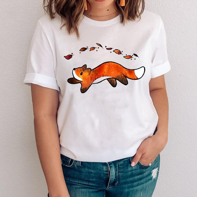 Women Graphic Fashion Cartoon Kawaii Printing Fox Face Animal Clothes Lady Tops Clothing Tees Print Female Tshirt T-Shirt