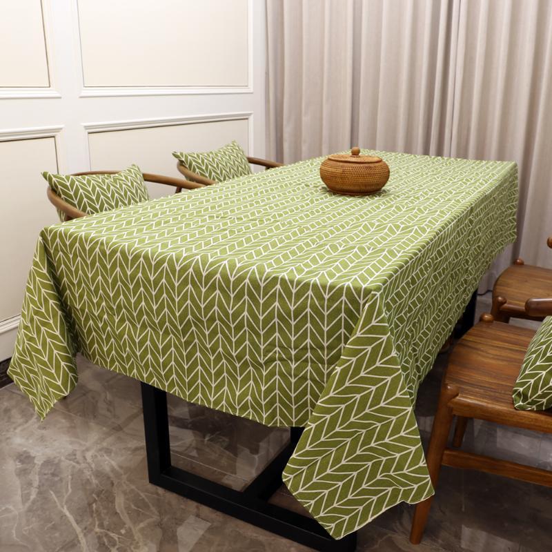 Moderne geometrische Tischdecke Baumwollwäsche Grüne Tischläufer Rechteckige Tischtuch Dekoration Ehefracht Dekoration