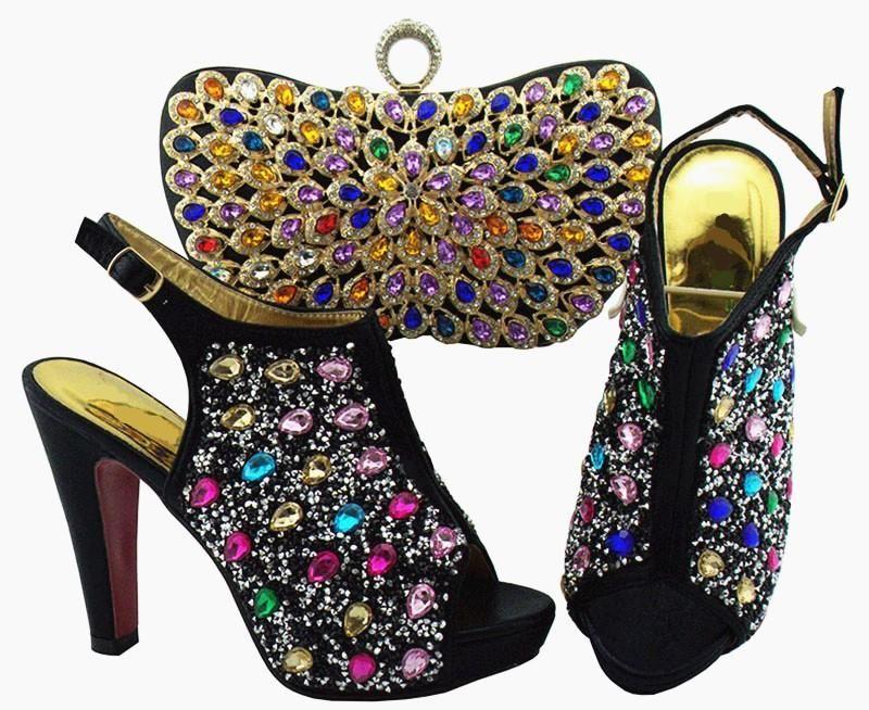 Elbise Ayakkabı Güzel Siyah Kadınlar Pompalar Ve Çanta Set Renkli Kristal Dekorasyon Ile Afrika Maç Çanta QSL005, Topuk 12cm