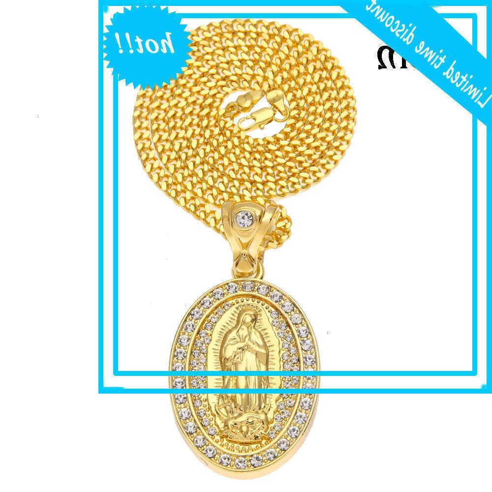 Nueva Joyería de Hip Hop con incrustaciones de Virgin Mary Oval Diamond Tres dimensional Dos Color Colgante