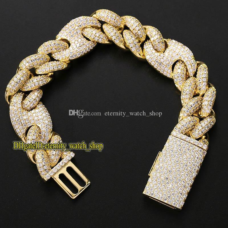 2021 eternity 9inch bracelet three to one 20mm Cuban bracelet full of CZ Diamond-inlay big box buckle pig nose Iced Out hip-hop bracelet