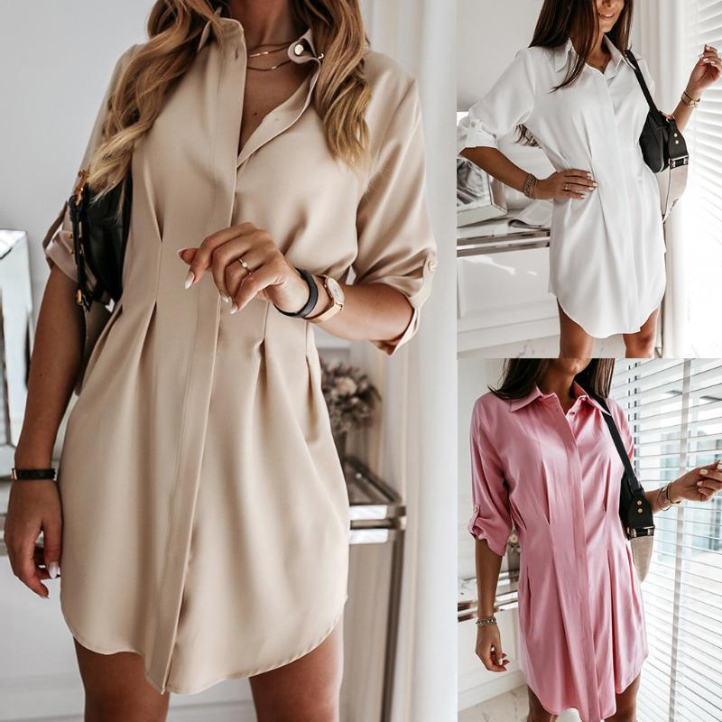 Casual Dresses Solid Buttons Short Dress Ladies Fashion Work Office V-Neck Sundress Women Evening Party Vestido De Fest