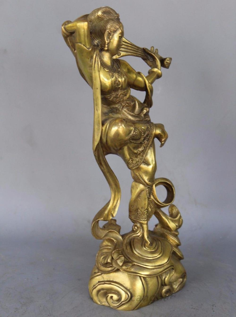 Dunhuang красота бронзовая статуя отскок Pipa Lute Fairy украшения дома