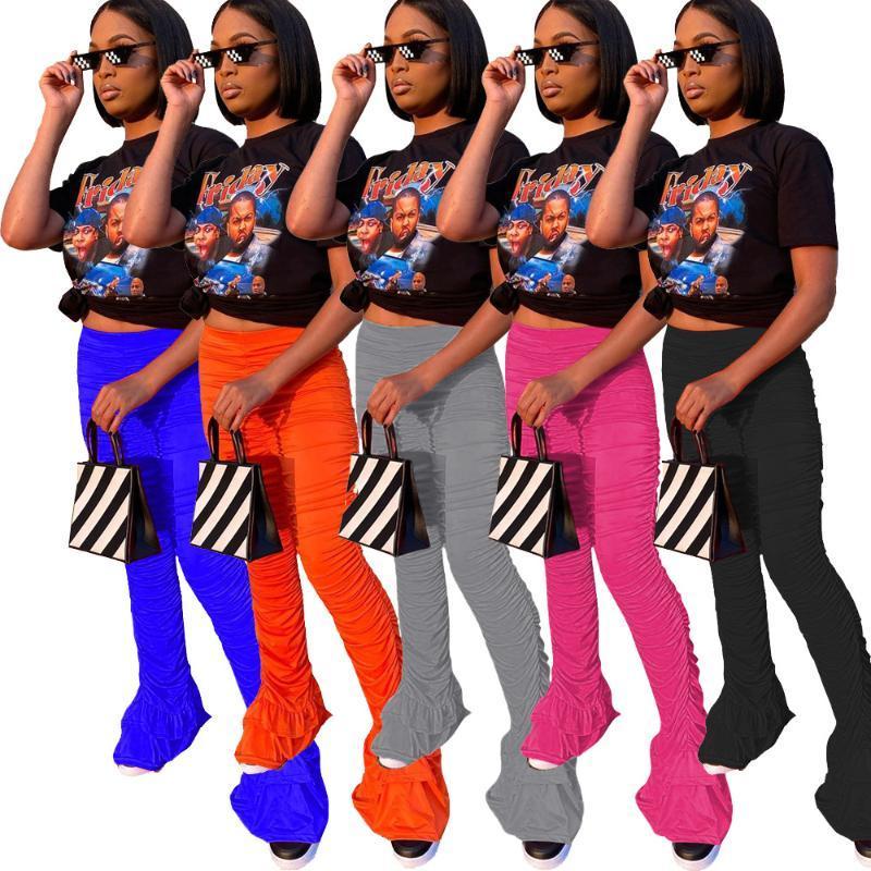 Женские брюки Capris AR5042 Европейская и американская 2021 Сексуальная одежда Сплошной цвет плиссированные брюки