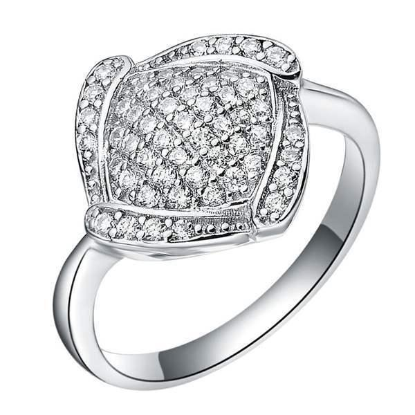 Кольцо с бриллиантом с белым золотом 18K и серебро 925 с полным бриллиантом