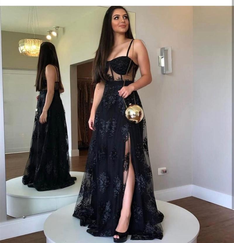 Vestido de noche negro A-Line Sweetheart Longitud lateral Slit Spaghetti Correa Encaje Appliques Backless Elegant Fiesta Bata