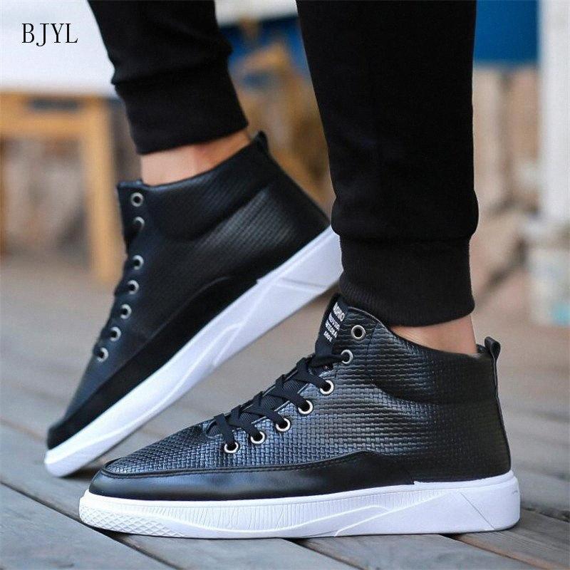 BJYL 2019 Nova Venda Quente Moda Masculino Sapatos Casuais Mens Couro Casual Sneakers Moda Preto Branco Flats Sapatos B308 84B8 #