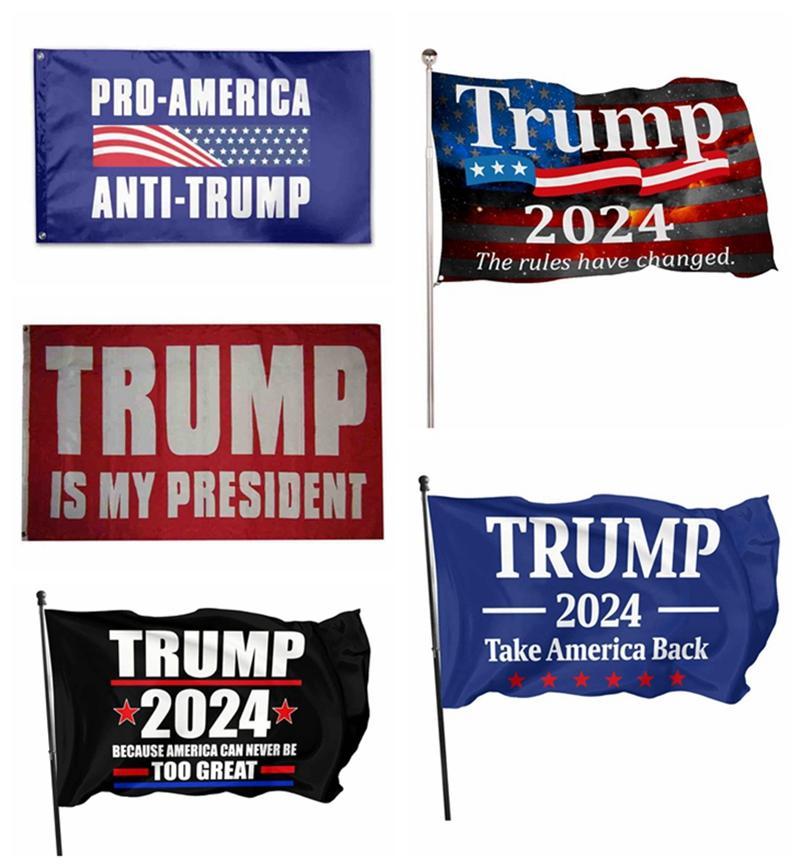 5 Style 2024 Trump Flag 90 * 150cm US Presidencial Elección de la bandera Material de poliéster Trump 2024 Banderas Banners Lla345