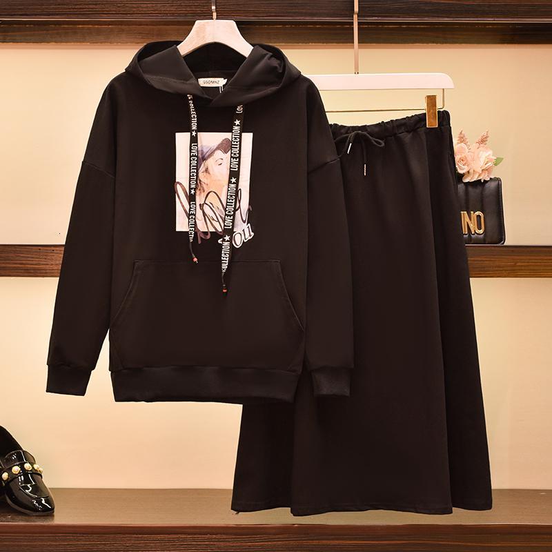 Mujer MÁS TAMAÑO MÁS TAMAÑO OTOÑO DE OTOÑO DE INVIERNO CULTIVA CULTIVA CON CUERDA Sudadera con capuchaShirt Top y falda Dos pedazos Trajes deportivos Ropa a juego 6m2b