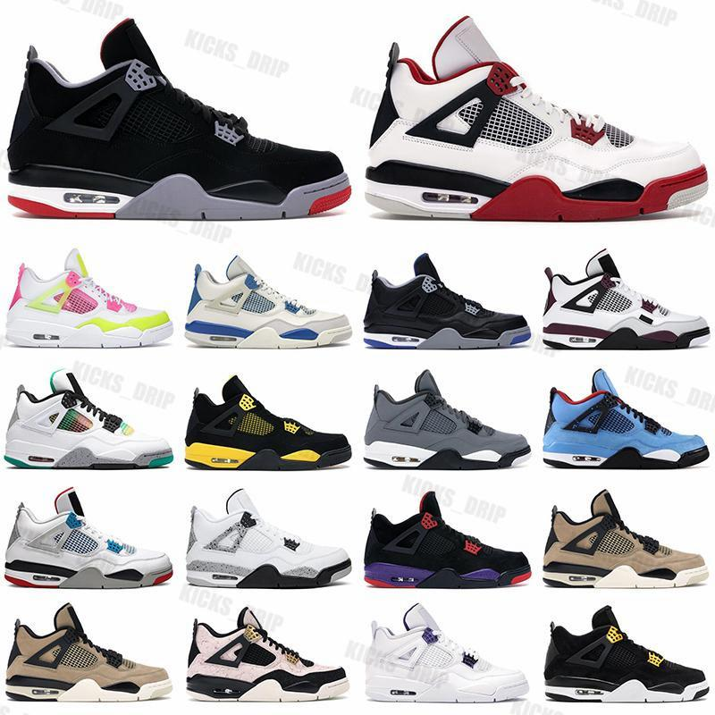 4S أحذية كرة السلة الرجال النساء النار الأحمر 4 أسود القط الصبار جاك بريد الابيض jumpman الملون معدني أحمر رجل إمرأة رياضة أحذية رياضية