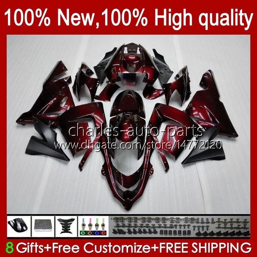 Kropps kit OEM för Kawasaki Ninja ZX1000C ZX 10 R 1000 CC ZX1000 04-05 Bodywork 9No.3 ZX 10R 1000CC ZX10R 04 05 ZX-10R ZX1000CC 2004 2005 Motorcykel Fairing Vin Röd lager