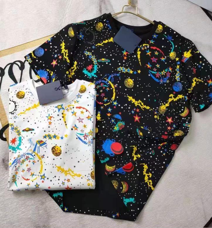 Summer Femmes Coton Tshirt Courtes manches courtes Mode de plein air Designer Lady Star Moon Lettre Imprimé Créwneck Casual Tshirt
