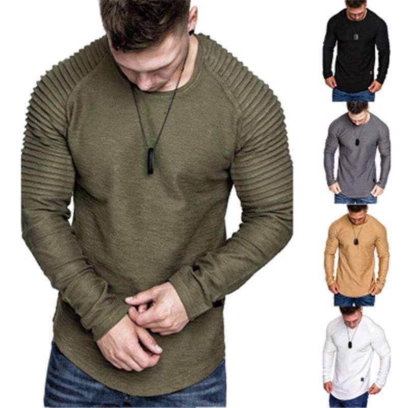 Mens Solid Color Fashion Trend складки с длинным рукавом круглые шеи тощие топы тройки весна мужской новый нерегулярный подол повседневная стройная футболка