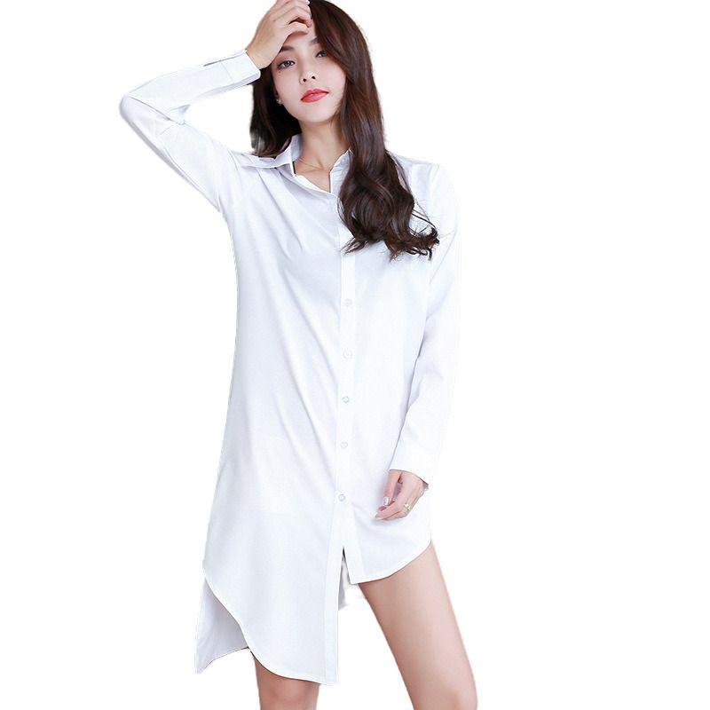 Bianco camicia Dress Donne Manica lunga moda Casual Sexy Metà Camice lunghe Sleepwear Irregolare Allentato Blouss Cardigan Blouss Femmina 21302